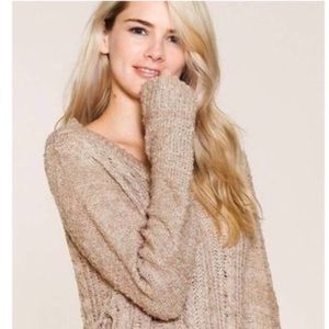 Sweaters - CAROLYN Taupe Sweater with Tie Cord Side